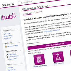 GDPR-Desicions in the GDPR-Hub (Screenshot)